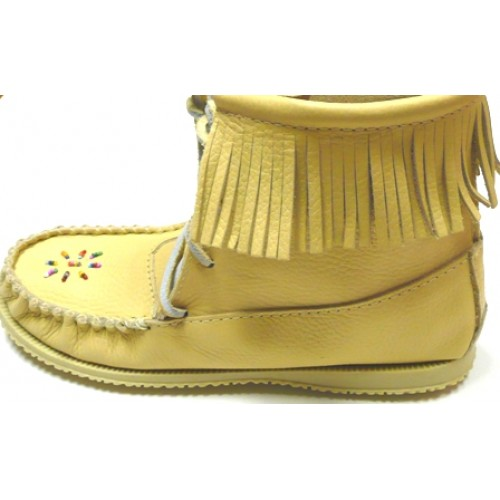 Grain Leather Bootie Moccasins