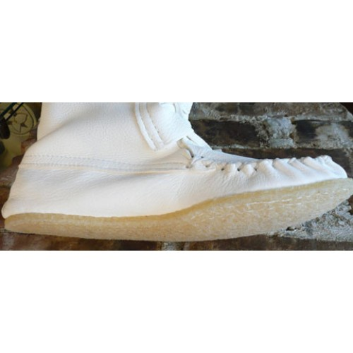 White Knee High Moccasins