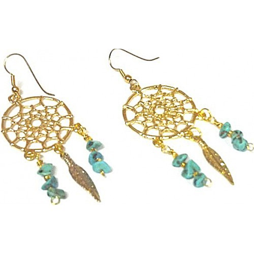 Gold and Turquoise Dreamcatcher Earrings