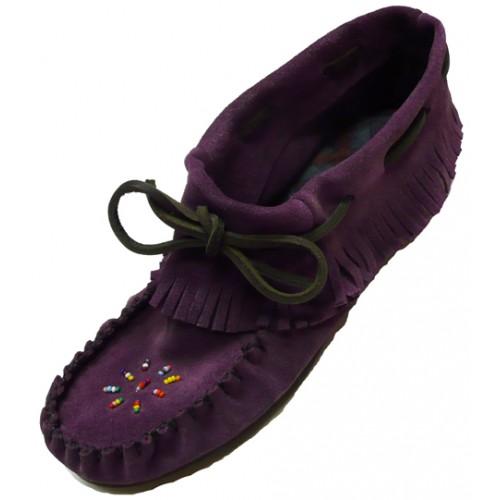 Ladies Purple Leather Moccasins